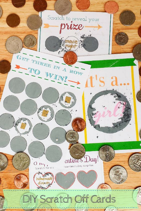 How to Make Scratch Off Cards Using Paint, Dish Soap, and Packing Tape - Make Scratch Offs for Any Occasion - Free Printable Scratch Cards Included - Destination Decoration