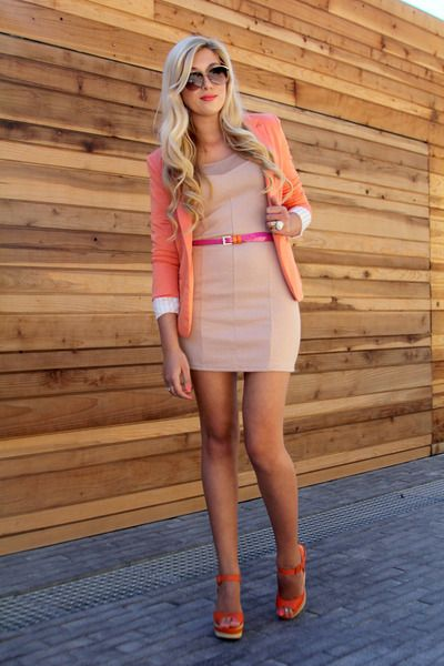Pair a nude dress with the same color shoes, belt, and blazer for a POP!