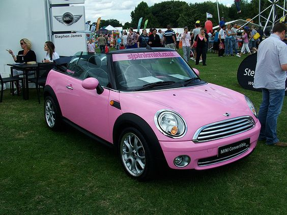 pink convertible mini cooper girly cars for female drivers love pink cars it 39 s the dream. Black Bedroom Furniture Sets. Home Design Ideas