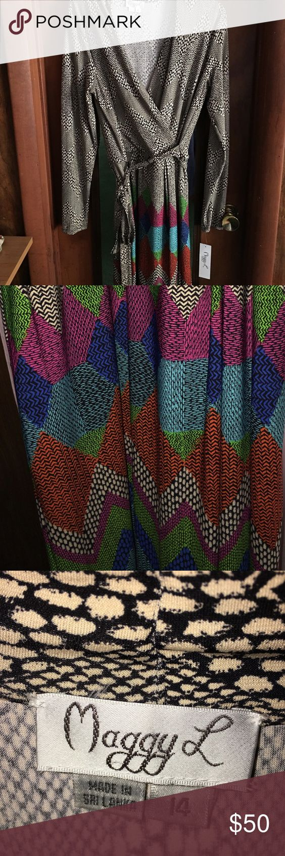 Faux wrap dress 👗 Gorgeous NWT Maggy London Dresses Long Sleeve