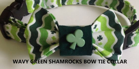 "St. Patrick's Day Collar with Bow Tie for Male Dogs & Cats- ""Wavy Green Shamrocks Bow Tie Collar"""