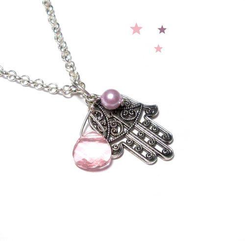Halskette für größere Mädchen, Hamsa-Hand und Briolette aus Glas