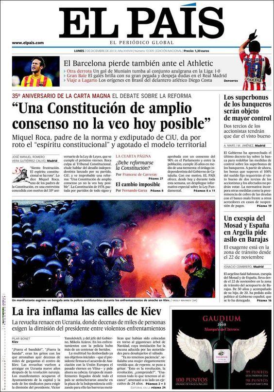Los Titulares y Portadas de Noticias Destacadas Españolas del 2 de Diciembre de 2013 del Diario El País ¿Que le pareció esta Portada de este Diario Español?