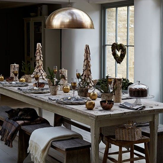 Rustic Dining Room Country Christmas Dining Room Ideas Dining Room PHOT