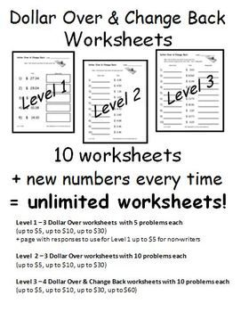 making change from a dollar worksheets