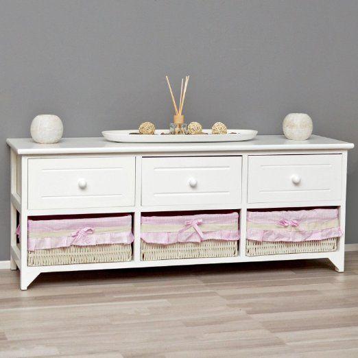 Landhaus Kommode Schrank weiß Sideboard mit 3 Schubladen 3 Körbe Rosa Bezug NEU, 89,90 Euro