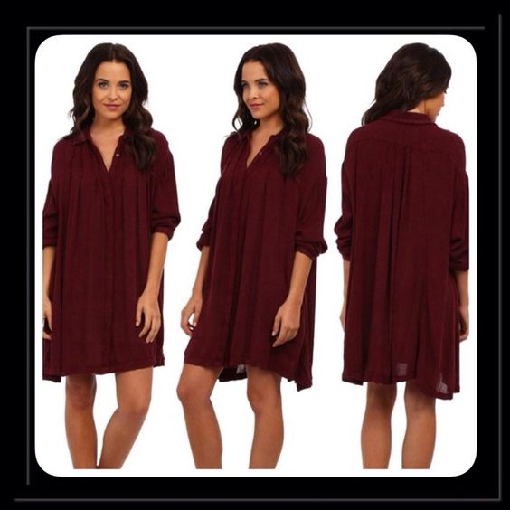 "Free People "" snap out of it""dress Boho burgundy soft rayon dress for the free- spirited fashionista , snap front closure, long sleeves, pin tucking and pleating detailing, perfect dress to wear with leggings and boots Free People Dresses"