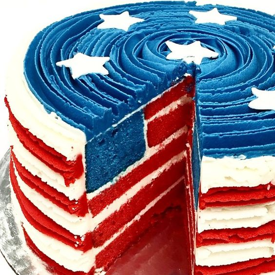 July 4th Cake Red White and Blue Cake: