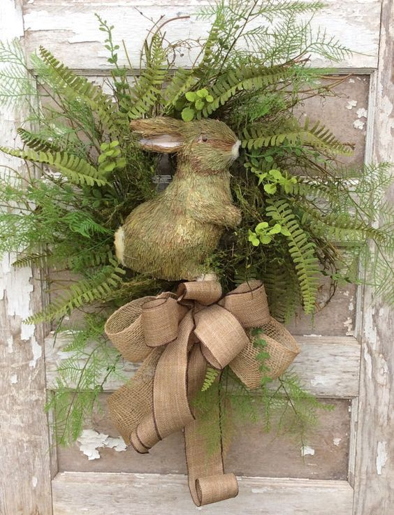 Natural bunny Wreath might have blue bow , could be used inside too for  spring baby shower..or any stuffed animal!