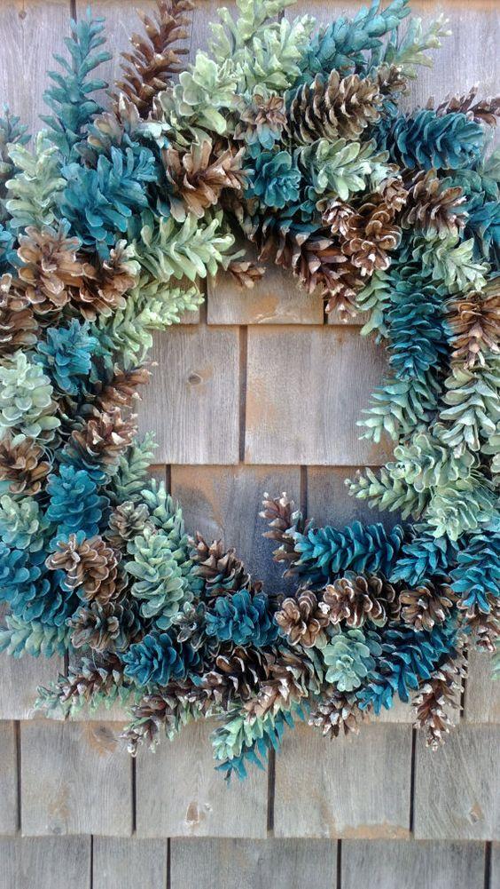 Kienappel Kranz - naturbraun, Ocean grünen - passen Sie Ihre Farben!!