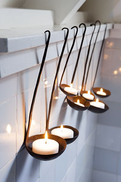 ladles as tea light candle holders  creative enough to recycle...