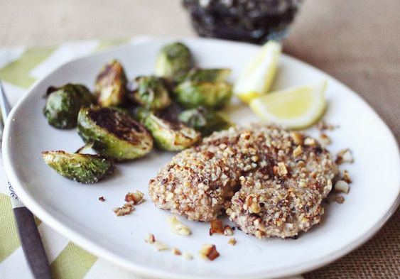 Brussel Sprouts and Pecan Tilapia
