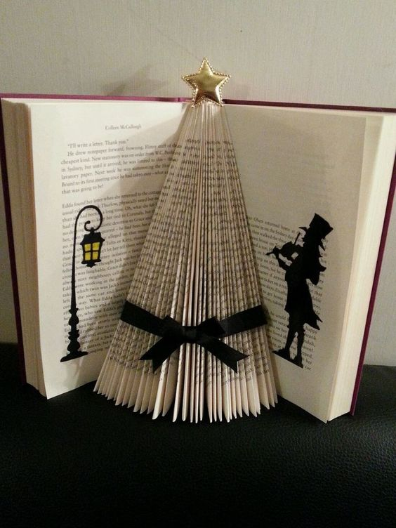 Folded book art victorian christmas tree black ribbon xmas: