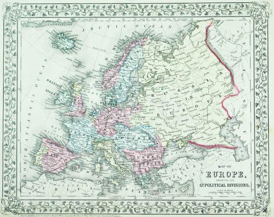 Europe Brazil Bolivia Chile Antique Mitchell Map 1881