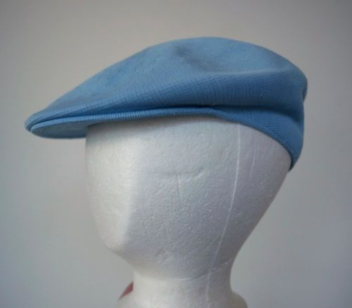 Vintage KANGOL Light Baby Blue Knit Newsboy Newsy Hat Cap Made in England L   aea34df86a6