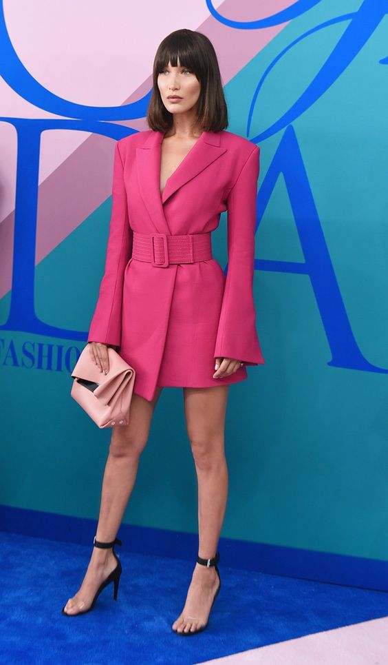 Bella Hadid looked stunning in this off-white pink blazer dress at the CFDA awards this evening