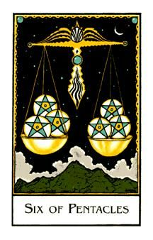 January 17 Tarot Card: Six of Pentacles (Palladini deck) Be generous with what you have when you have it -- for there will be a time when you, too, are in need