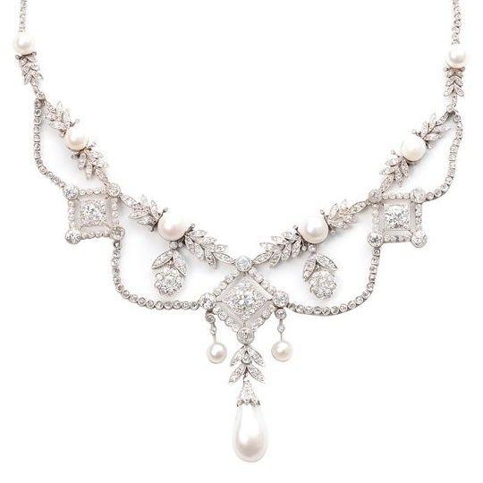 Edwardian diamond & Oriental pearl Louis XVI necklace, 1910 via @Lily  {of opulence}
