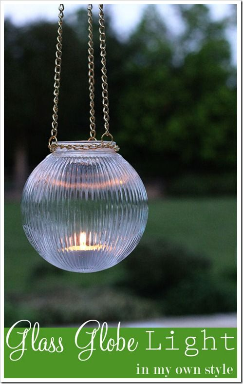 Love this idea! DIY Outdoor Light using a glass globe from a ceiling light fixture