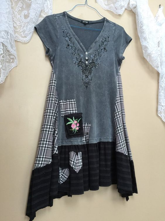 medium altered clothing upcycled wearable art junk gypsy tunic bohemian shabby chic romantic. Black Bedroom Furniture Sets. Home Design Ideas