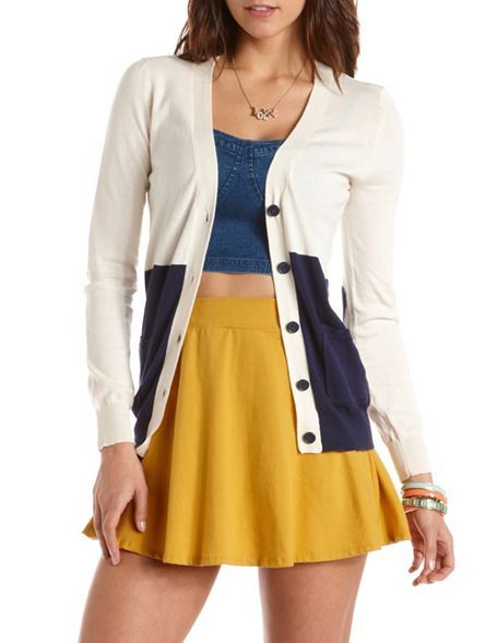 Heart Patch Color Block Cardigan: Charlotte Russe