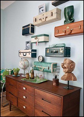 Suitcase shelves. Neutral wall color. Warm woods.  Maries Manor: travel theme decorating ideas - global decor - world travel decorating