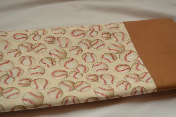 Baseball pillowcase with tan cuff. 100% cotton.