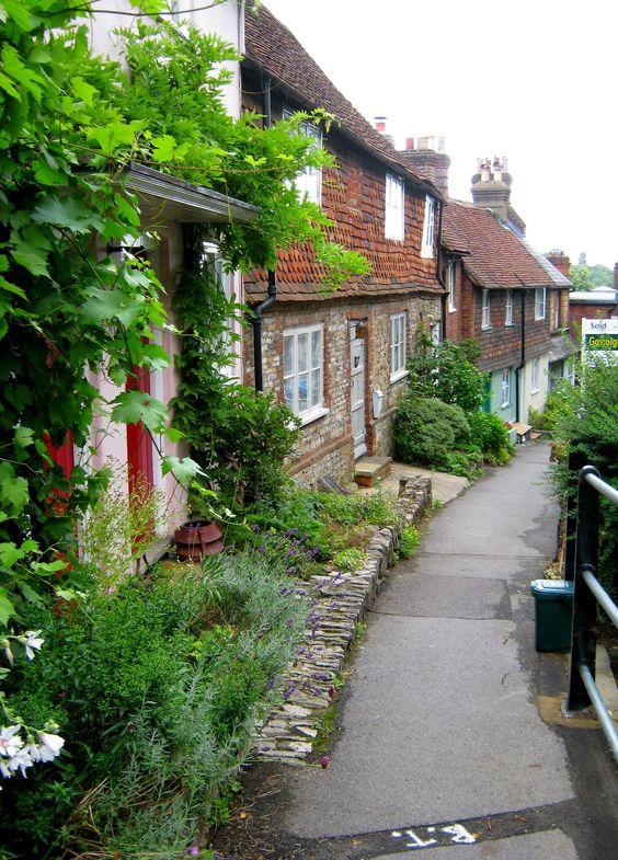 Village street, Surrey, England.