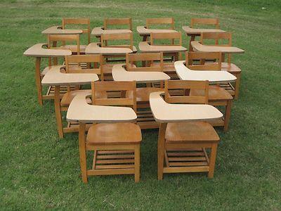 13 Vintage Antique Adult Size Wooden Wood School Student Desks Furniture Antiques Desks And