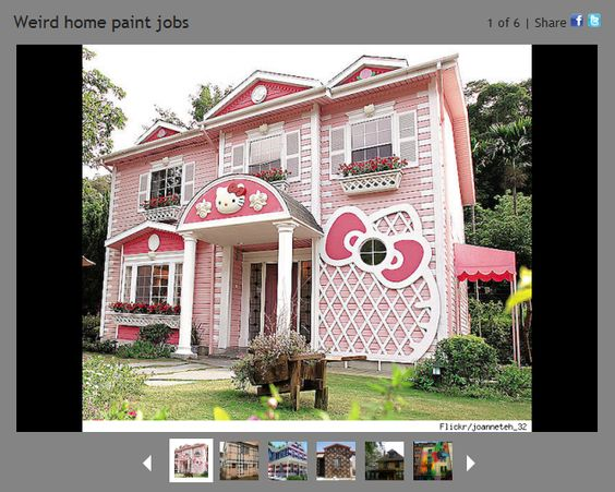 Hello kitty house unusual homes and kitty house on pinterest - Exterior paint jobs model ...