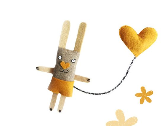 Bunny Brooch  I have a Mustard Heart. Whimsical. Funny by krize, $27.00