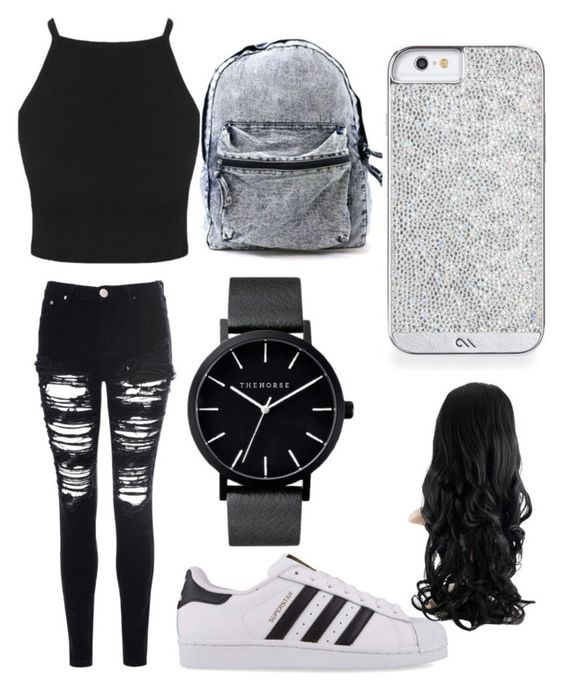 """All black"" by maddysr306 on Polyvore featuring interior, interiors, interior design, home, home decor, interior decorating, Glamorous, adidas Originals and The Horse"