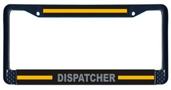 Dispatcher Black Metal License Plate Frame Thin Gold