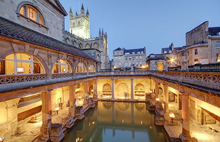 Bath - 90 minutes each way by train from London Paddington station