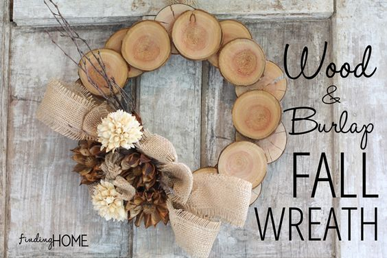 Wood and Burlap Fall Wreath: