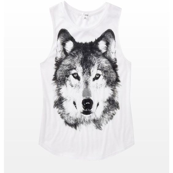 Wolf Muscle Tank ($20) ❤ liked on Polyvore featuring tops, shirts, tank tops…
