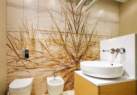 Strand Fototapete an der Wand im Badezimmer anbringen