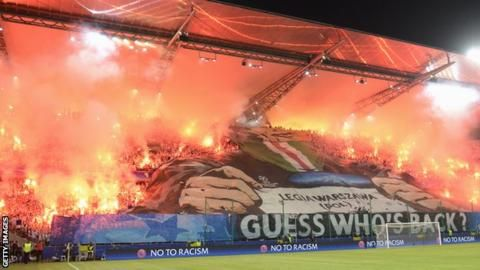 Champions League: Legia Warsaw apology over Borussia Dortmund crowd trouble - BBC Sport