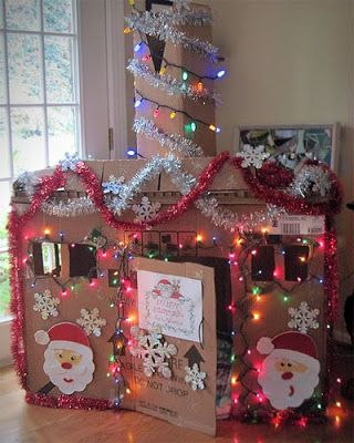 What a fun idea for little ones for Christmas. Build a house out of cardboard boxes & let them decorate it for the holiday.