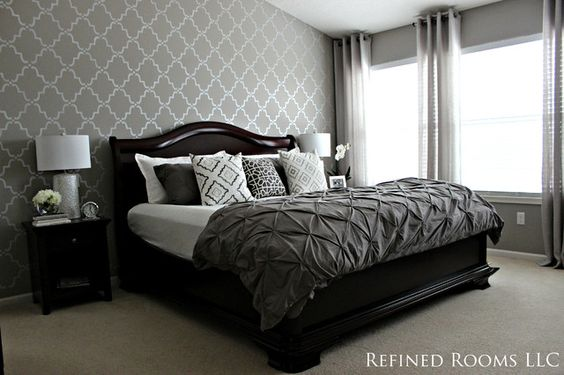 Gray Neutral Color Scheme And Royal Design Studio Moroccan Wall Stencil In Bedroom Decor Houzz