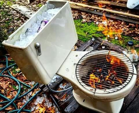 Toilet ice chest bbq grill. Funny!: