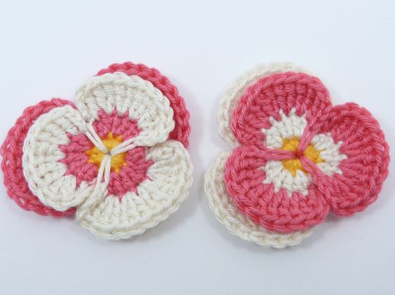 Crochet applique 2 crochet pansies cards by MyfanwysAppliques