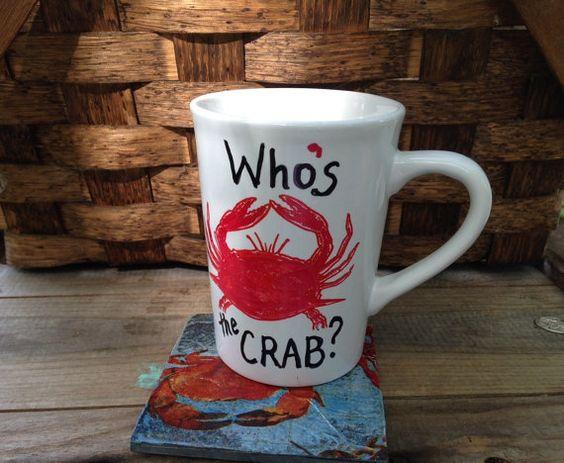 Red Crab Coffee Mug Who's the Crab grumpy by ilPiccoloGiardino
