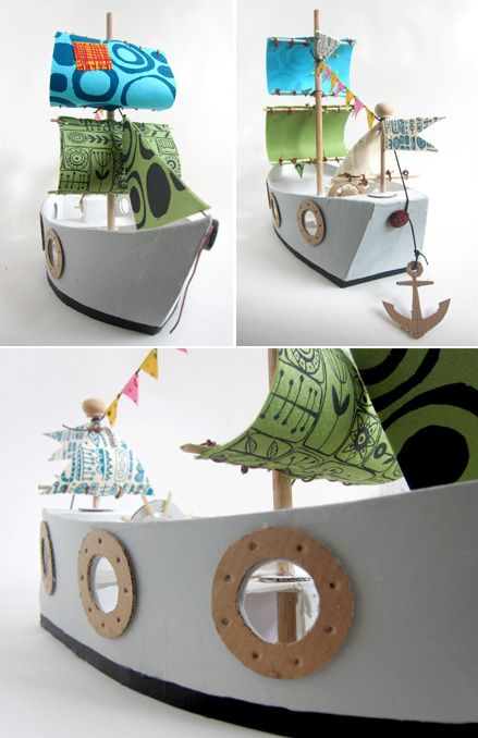 DIY Cardboard Pirate Ship  Mounting board, glue, paint and some scraps of fabric. Visit the blog to see all the step by step photographs  http://mollymoo.ie/2012/04/make-it-more-piratey-mom/