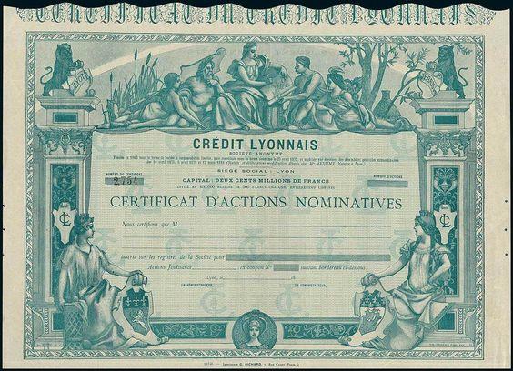 Crédit Lyonnais. Certificat d'Action nominatives F500. Lyon 18--, #2754, unissued