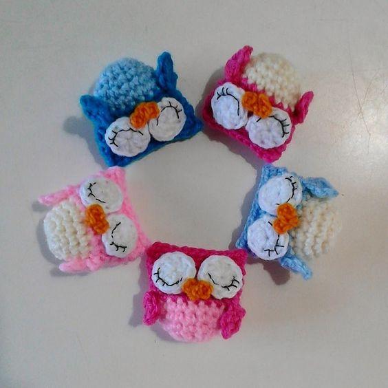 LLavero tejido crochet - Buho amigurumi