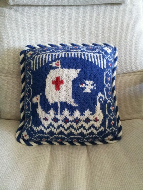 Knit Viking ship pillow cover by eatknitsew