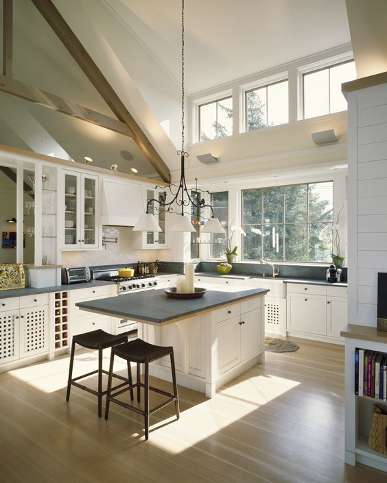 Beautiful Kitchen With High Ceiling, Wooden Floor, White