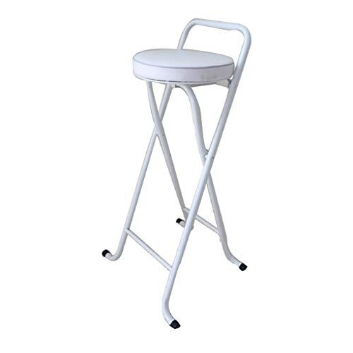 Portable Barstools Silver Metal Round Padded Folding High Chair Breakfast Kitchen Stool Soft Seat Sitting Hight 65 Folding High Chair Kitchen Stools Bar Stools