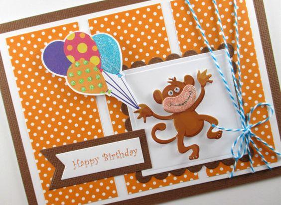 Monkey balloons boys birthday card kids birthday card – Personalized Kids Birthday Cards